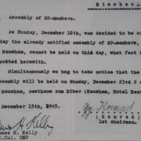 Genehmigung der Militärregierung für die Versammlung der Haushamer Genossen (16.12.1945)